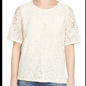 Madewell Ivory Lace Refined Tee Shirt S